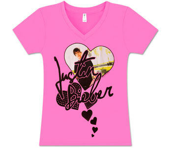 Justin Bieber - Pink V-neck (Women's /Junior Sizes)